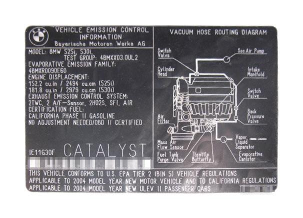 Das Abgas-Label finden Sie im Motorraum.